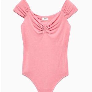 Wilfred bodysuit pink libellule scrunch shoulder